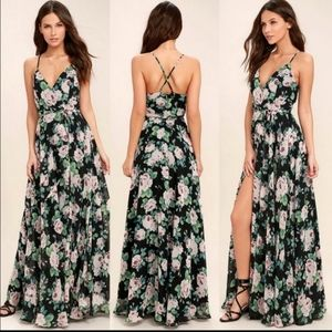 NWT Legendary Romance Black Floral Wrap Dress